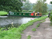 A narrowboat turns around